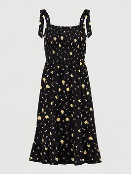 V by Very V By Very Tie Shoulder Floaty Frill Midi Dress - Black Floral Picture