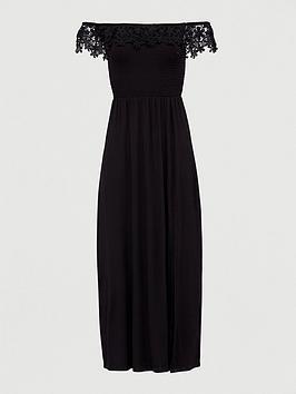 V by Very V By Very Broderie Trim Bardot Maxi Dress - Black Picture
