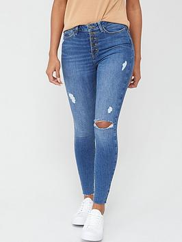 V by Very V By Very Ella High Waist Button Fly Skinny Jean - Mid Wash Picture