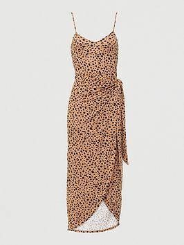 V by Very V By Very Strappy Wrap Over Midi Dress - Niaml Print Picture
