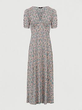 V by Very V By Very Plisse Mini Button Through Midi Dress - Floral Print Picture
