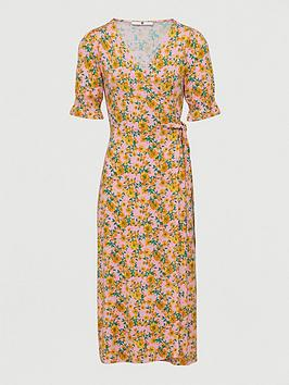 V by Very V By Very Printed Wrap Midi Dress - Pink Floral Picture
