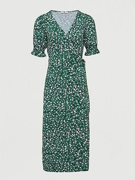 V by Very V By Very Printed Wrap Midi Dress - Green Print Picture