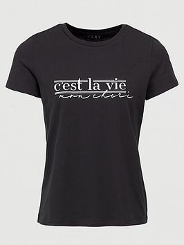 V by Very V By Very C'Est La Vie Tee - Black Picture