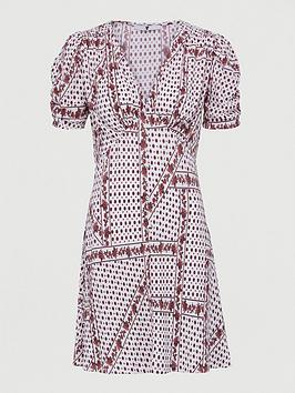 V by Very V By Very Plisse Mini Button Through Dress - White Paisley Picture