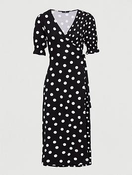 V by Very V By Very Printed Wrap Midi Dress - Polka Dot Picture