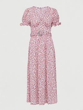 V by Very V By Very Belted Midi Dress - Pink Print Picture