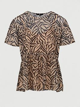 V by Very V By Very Mesh Boxy Fit Tee - Animal Print Picture