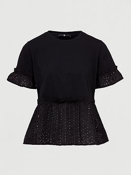 V by Very V By Very Broderie Mix Tee - Black Picture