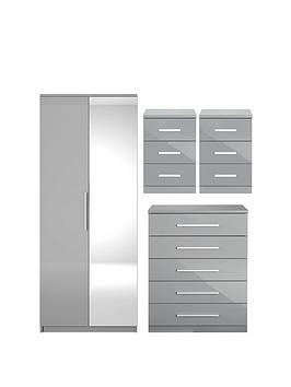 Very Prague Gloss 4 Piece Package - 2 Door Wardrobe, 5 Drawer Chest And 2  ... Picture