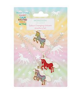 Monsoon   Girls Colour Change Unicorn Necklace, Bracelet & Ring Set - Multi