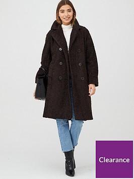 warehouse-teddy-double-faux-fur-coat-chocolate