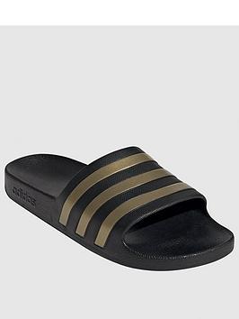 Adidas Adidas Adilette Aqua Slides - Black/Gold Picture