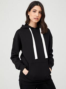V by Very V By Very Oversized Longline Hoodie - Black Picture