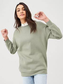 V by Very V By Very Long Line Crew Neck Sweat - Khaki Picture