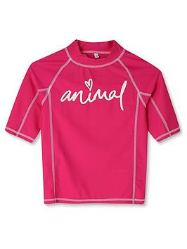 Animal Animal Girls Molli Shirt Sleeve Rash Vest - Pink Picture