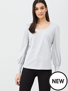 v-by-very-volume-sleeve-scoop-neck-top-grey