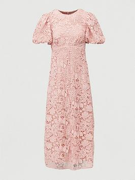 V by Very V By Very Lace Puff Sleeve Midaxi Dress - Blush Picture