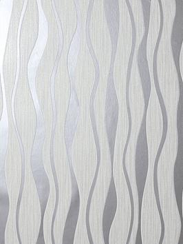 Arthouse White Metallic Wave Wallpaper