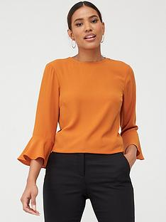 v-by-very-fluted-sleeve-shell-top-ochre