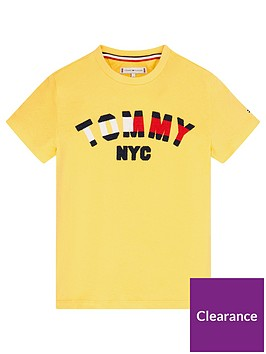 tommy-hilfiger-unisex-short-sleeve-logo-t-shirt-yellow