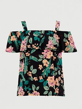 V by Very Curve V By Very Curve Cold Shoulder Longline Jersey Top - Print Picture