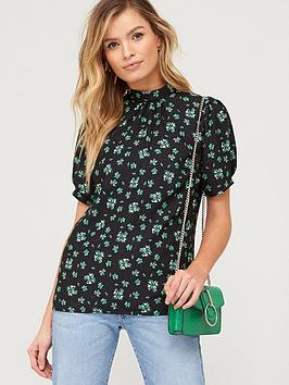 V by Very V By Very Short Sleeve Shell Top - Dark Floral Picture
