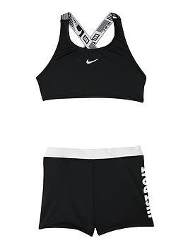 Nike Nike Girls 2 Piece Crossback Sport Bikini And Shorts Set - Black Picture