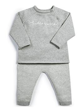Mamas & Papas Mamas & Papas Unisex Hello World Top And Legging Set - Grey Picture