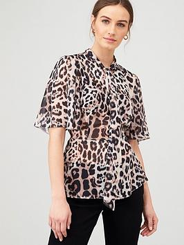 V by Very V By Very Pussybow Peplum Blouse - Animal