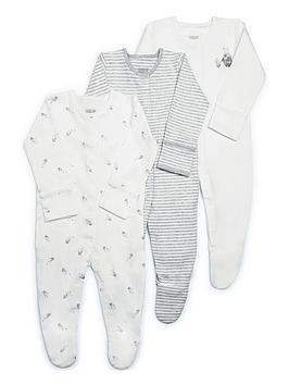 mamas-papas-unisex-3-pack-bear-sleepsuit-white