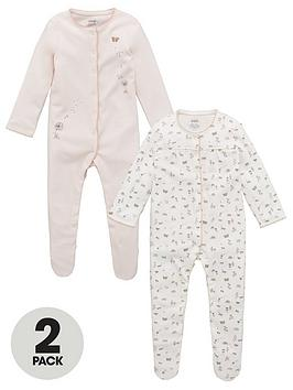 Mamas & Papas   Baby Girls Bunnies 2 Pack Sleepsuits - Pink
