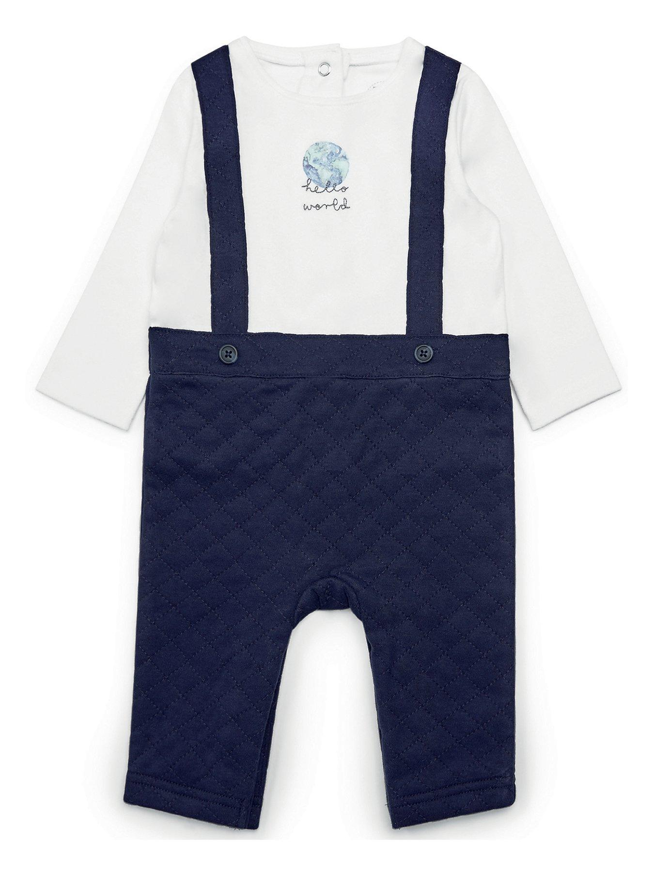 Mamas /& Papas Woven Short and Tee Set Welcome to The World Blue 0-3 Months