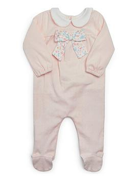 Mamas & Papas   Baby Girls Floral Bow Sleepsuit - Pink