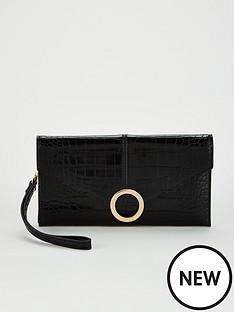 office-bonnie-wristlet-purse-black-croc