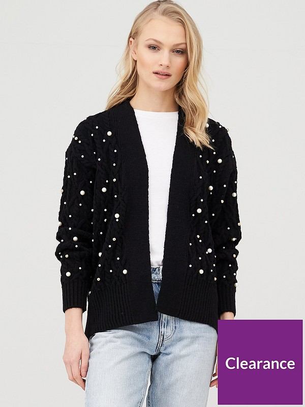 Pearl Embellished Cable Knit Cardigan Black