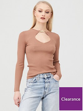 river-island-embellished-clasp-cut-out-knitted-top-beige