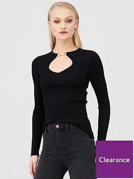 river-island-embellished-clasp-cut-out-knitted-top-black