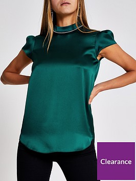 river-island-river-island-diamante-collar-short-sleeve-top-green