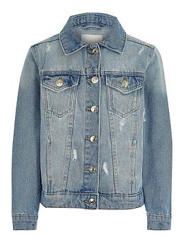 River Island River Island Girls Ripped Denim Jacket-Blue Picture