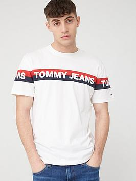 Tommy Jeans Tommy Jeans Double Stripe Logo Short Sleeve T-Shirt - White Picture
