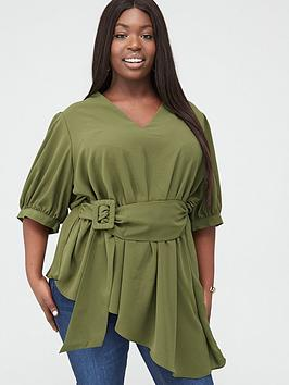V by Very Curve V By Very Curve Asymmetric Belted Blouse - Khaki Picture