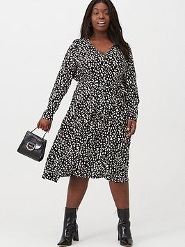 V by Very Curve V By Very Curve Button Through Midi Dress - Animal Picture