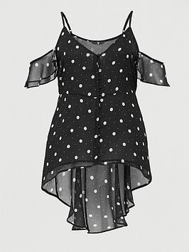 V by Very Curve V By Very Curve Waterfall Cold Shoulder Cami - Spot Print Picture