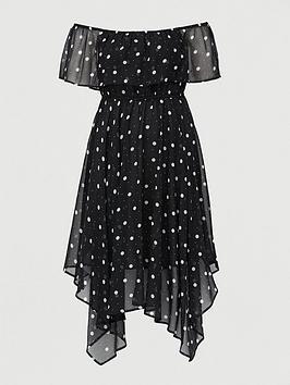 V by Very Curve V By Very Curve Chiffon Bardot Midi Dress - Spot Print Picture
