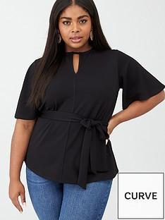 v-by-very-curve-keyhole-belted-jersey-top-black