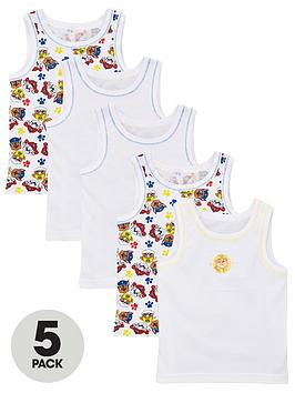 Paw Patrol Paw Patrol Boys 5 Pack Vests - White Picture