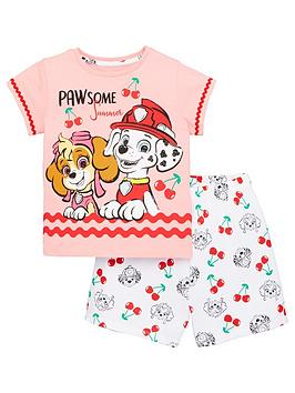 Paw Patrol Paw Patrol Girls Cherry Brave Pups T-Shirt And Short Pjs - Multi Picture