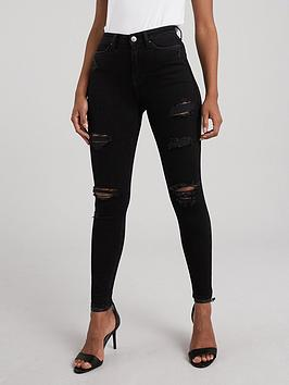 V by Very V By Very Ella High Waist Open Rips Skinny Jean - Black Picture