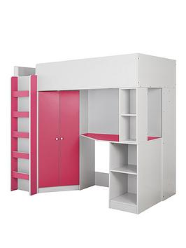 Miami Fresh High Sleeper Bed With Desk, Wardrobe And Shelves - Pink - High Sleeper With Premium Mattress